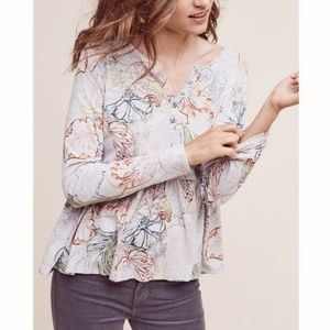Anthro | Meadow Rue Floral Peplum Top Babydoll Tee
